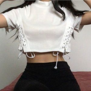 Tops - White mock neck lace up crop top